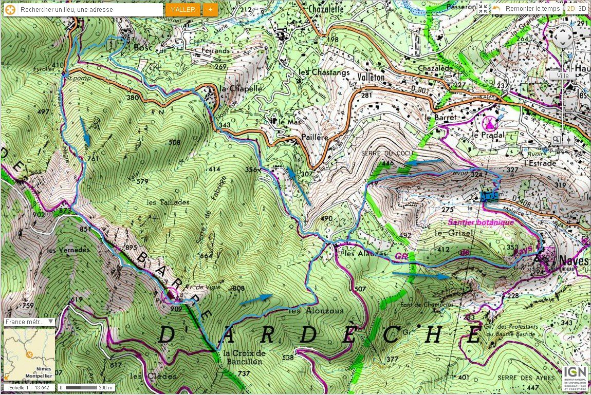 Carte IGN Serre de Barre (trail)