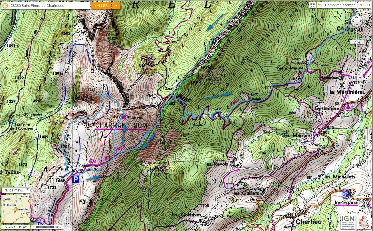 Carte IGN Charmant Som depuis Vallombré (trail) 2/2
