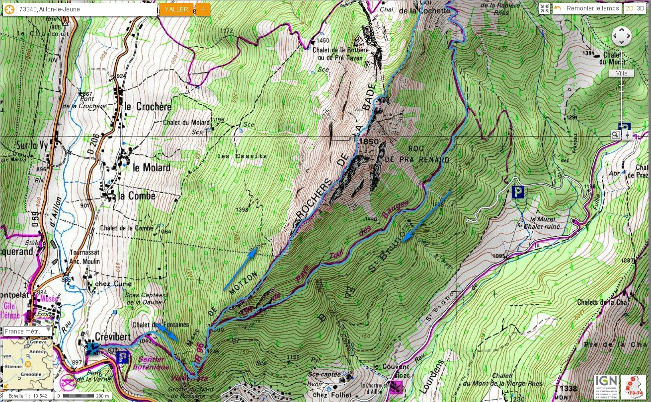 Carte IGN Rochers de la Bade (trail)