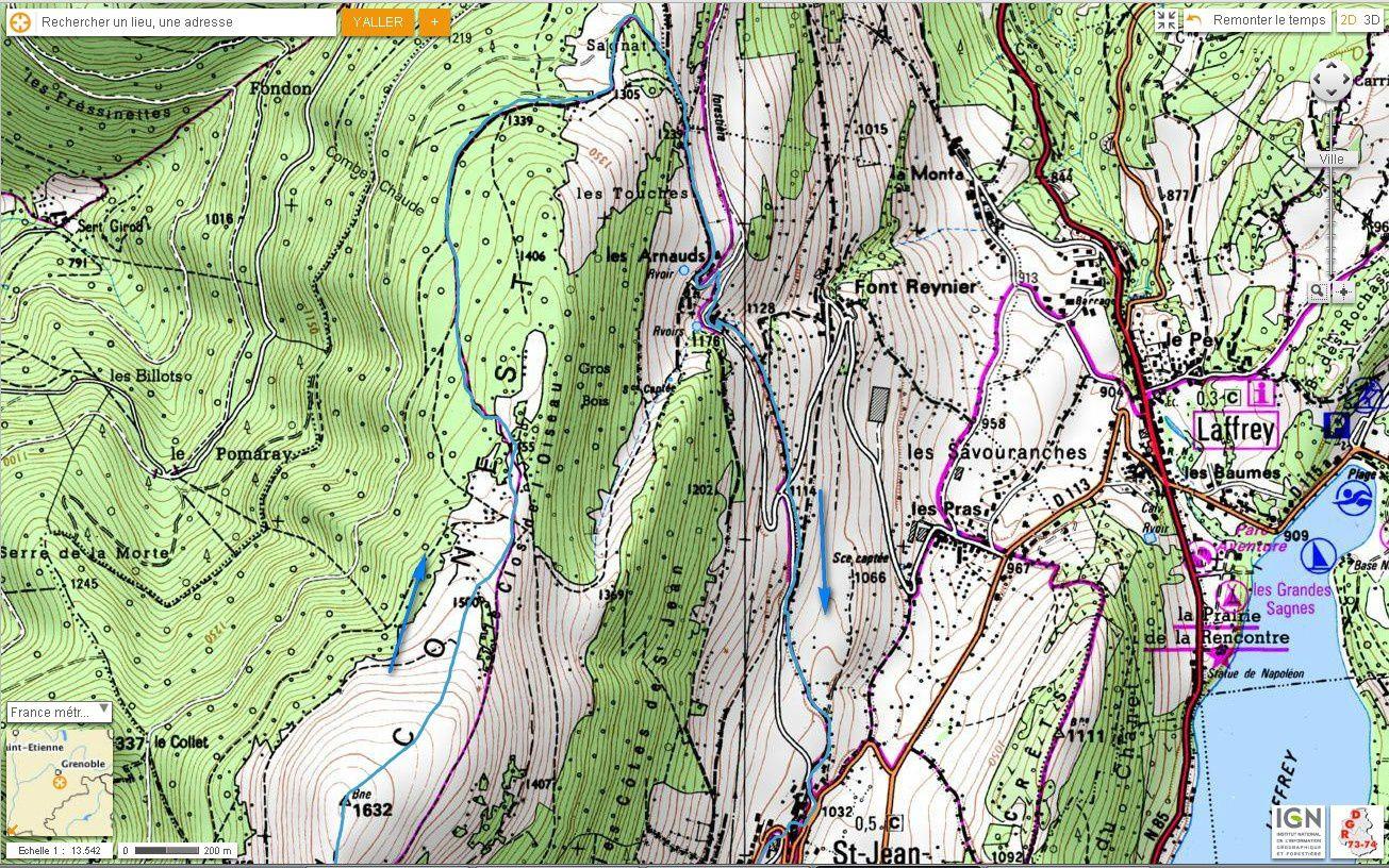 Carte IGN Beauregard depuis St Jean de Vaulx (trail) 2/2