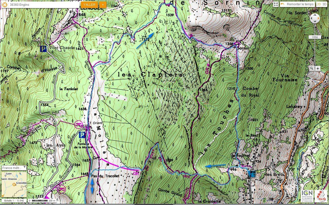 Carte IGN Charande, depuis le Fournel (trail)