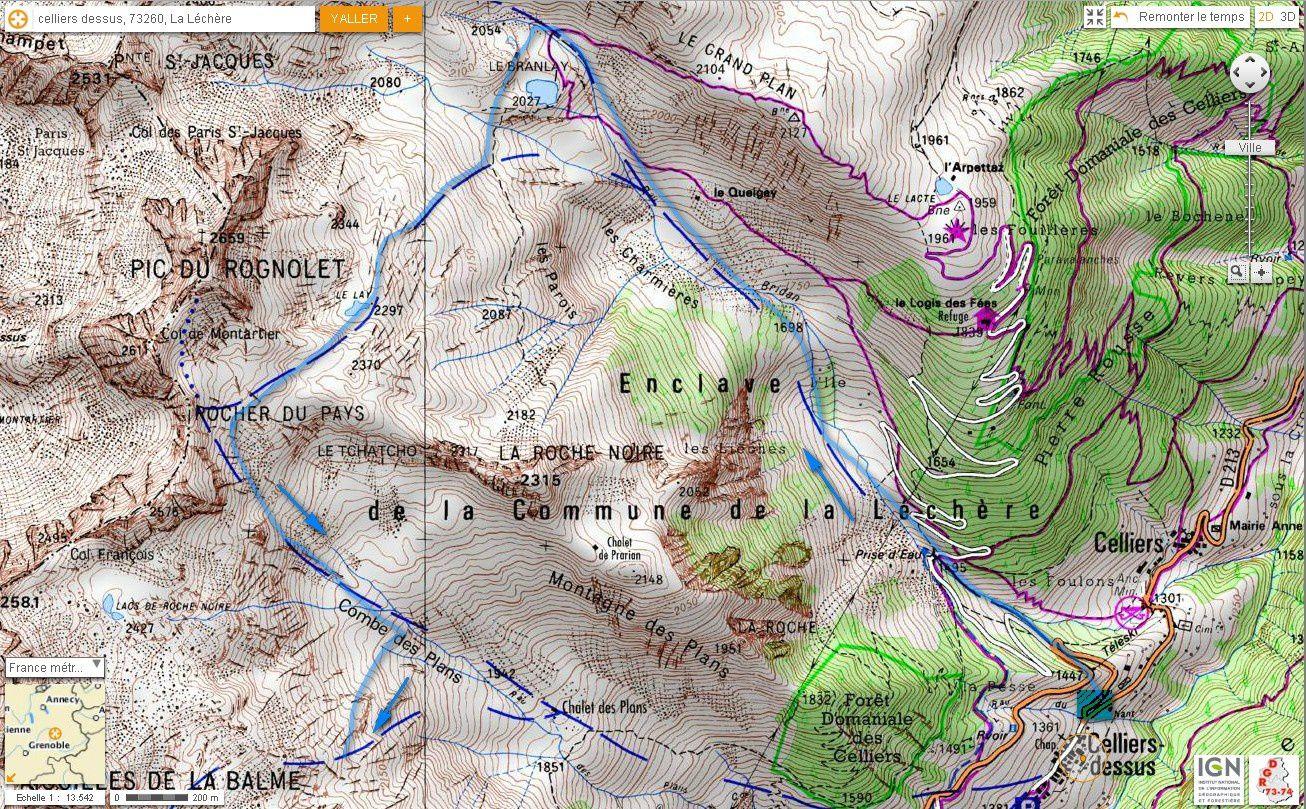 Carte IGN col de l'Aiguillon, boucle des 3 combes (ski) 1/2