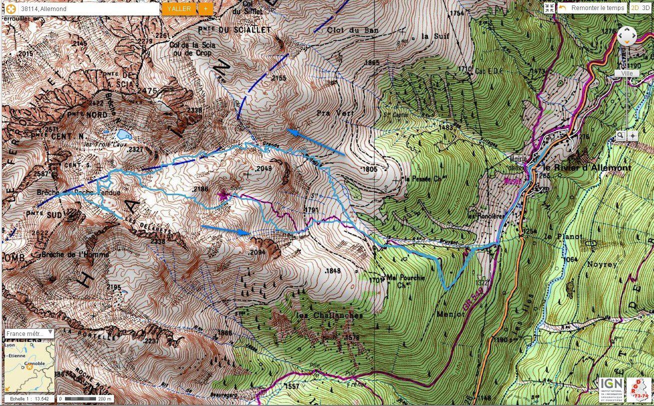 Carte IGN Brèche de Roche Fendue (ski)