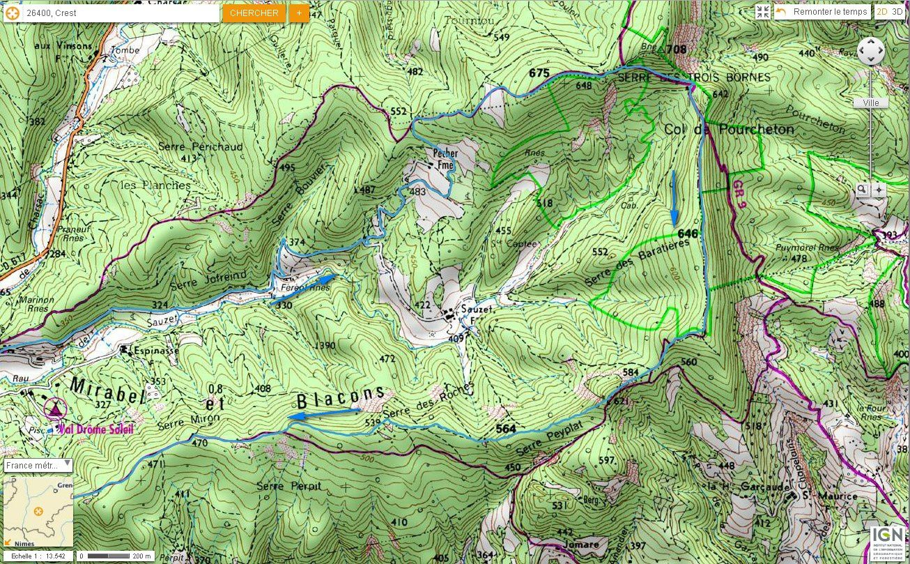 Carte IGN Col de Pourcheton (VTT) 4/4