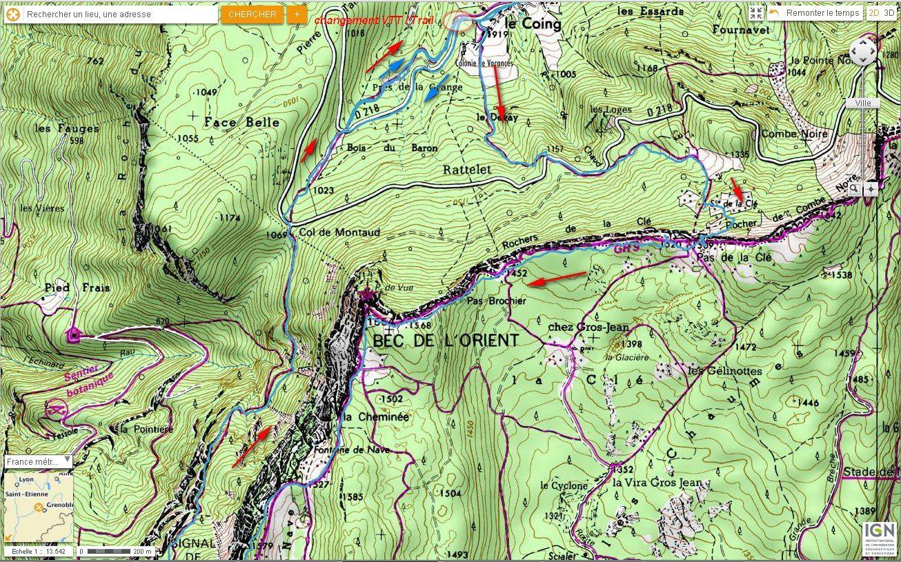 Carte IGN Bec de l'Orient et Signal de Nave (VTT + Trail) 3/4