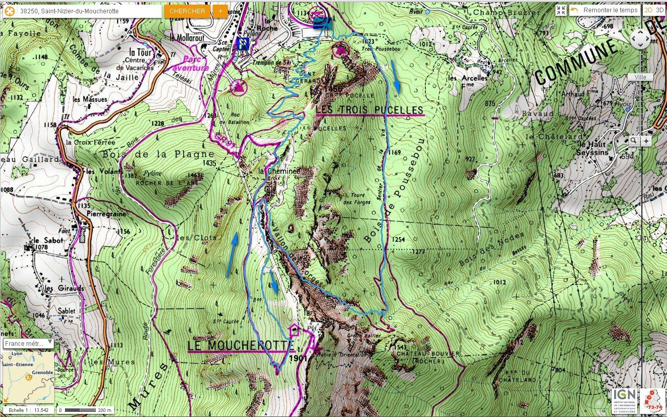 Carte IGN Vallon des Forges (trail)