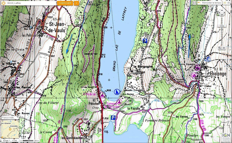 Carte IGN Tour des Lacs de Laffrey (trail) 2/4