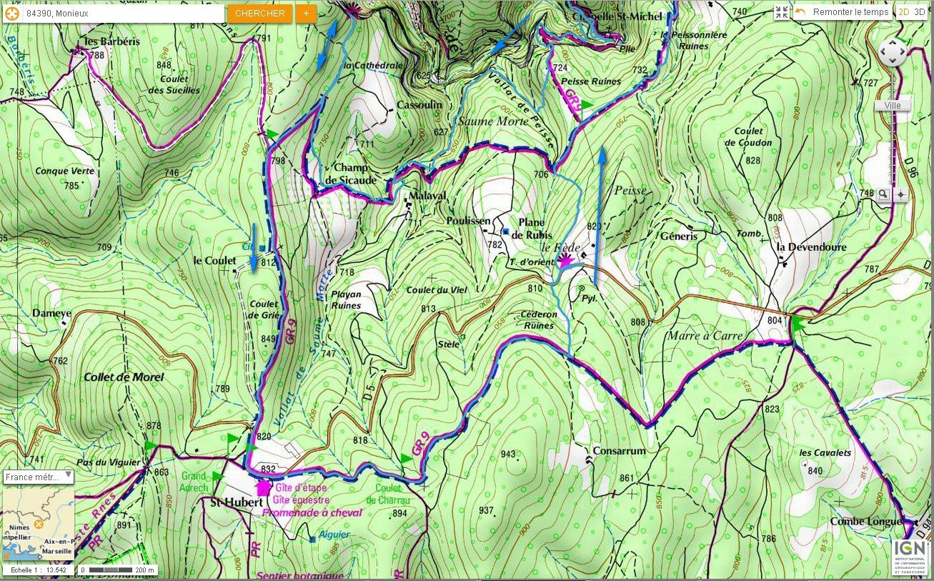 Carte IGN des Gorges de la Nesque (trail) 2/2