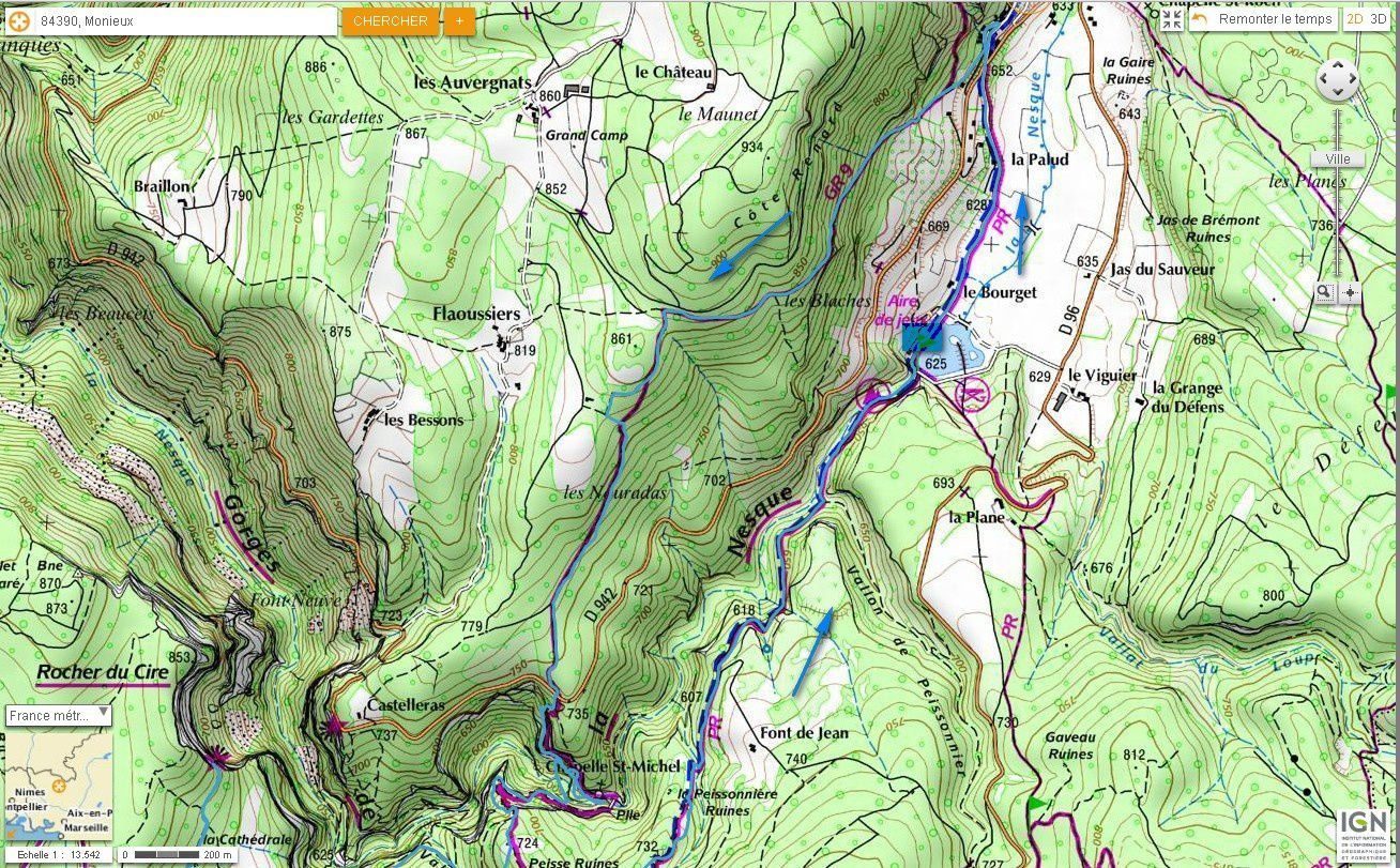 Carte IGN des Gorges de la Nesque (trail) 1/2