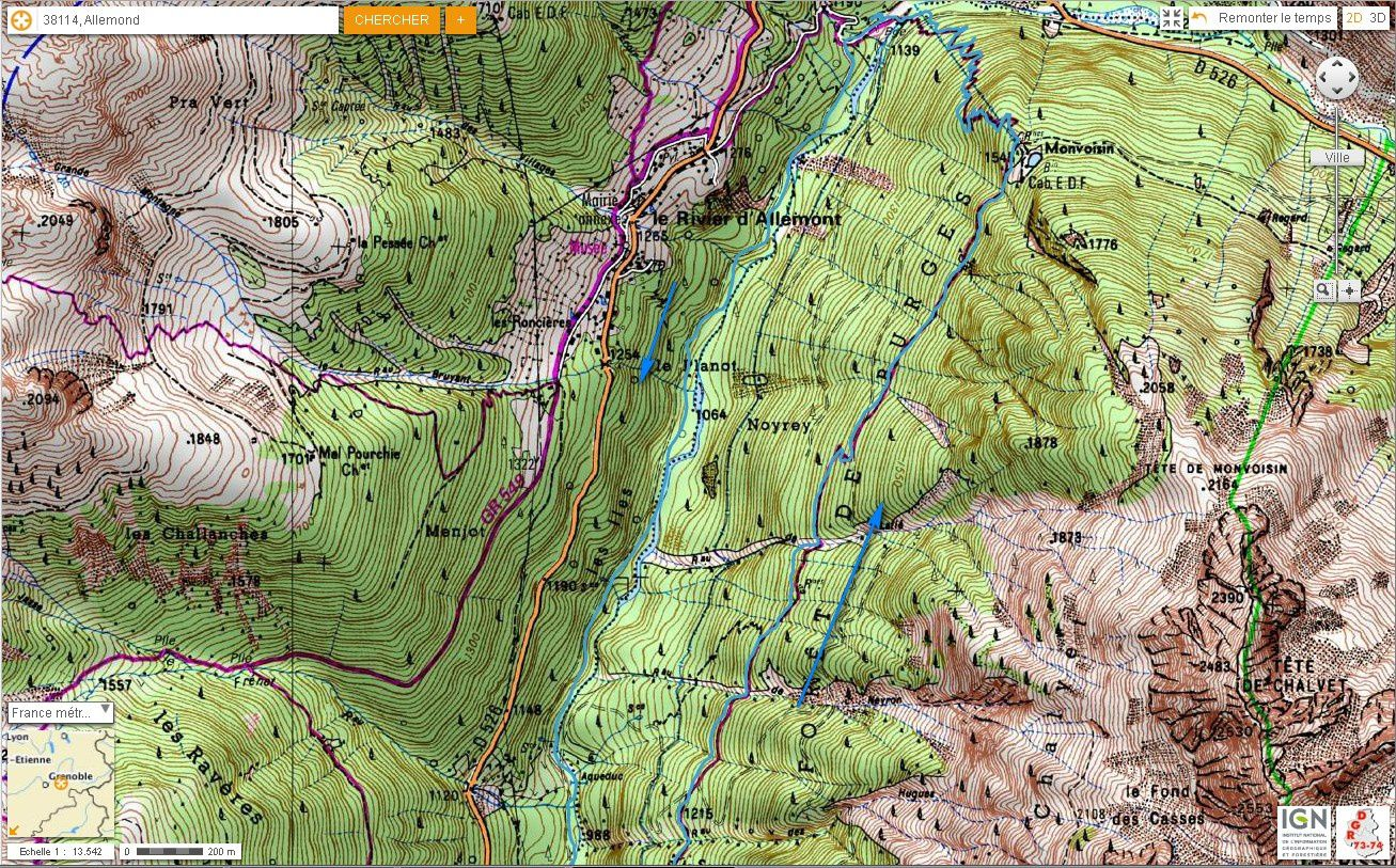 Carte IGN Balcons de l'Eau d'Olle (trail) 4/4