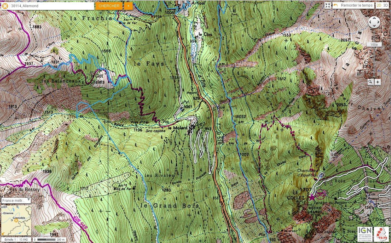 Carte IGN Balcons de l'Eau d'Olle (trail) 3/4