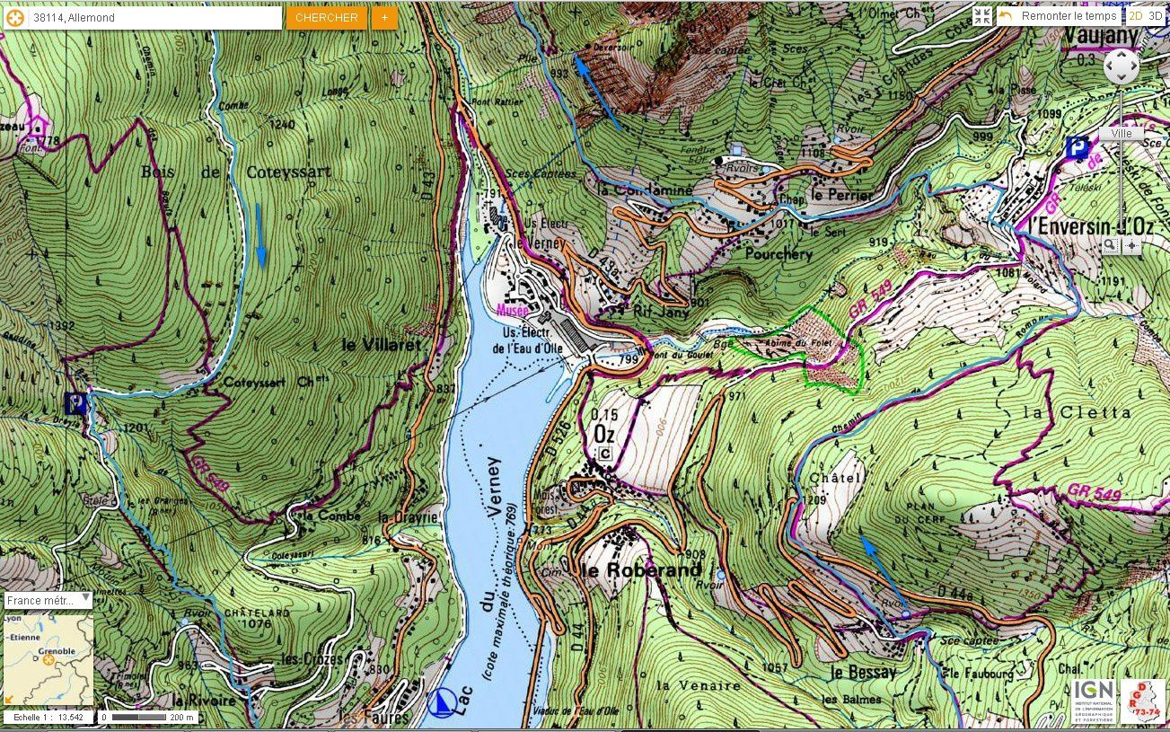 Carte IGN Balcons de l'Eau d'Olle (trail) 2/4