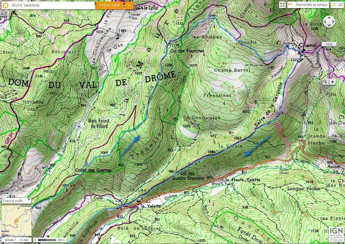 Carte IGN Chamel, par le Serre de la Gardette (trail) 2/2