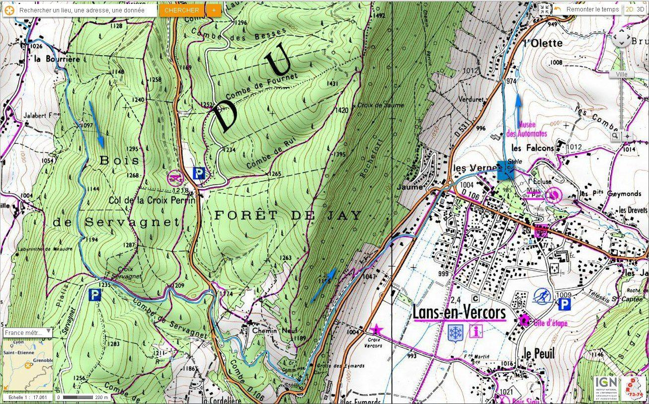 Carte IGN tour de Charande et descente des Pichières (VTT) 1/5