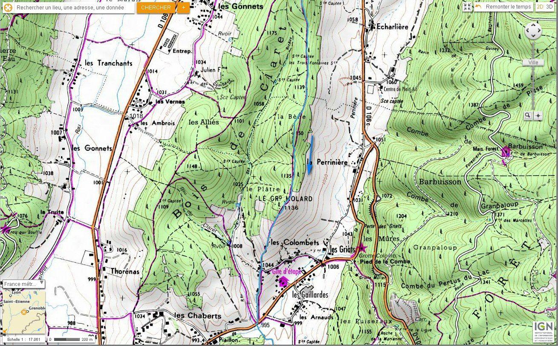 Carte IGN tour de Charande et descente des Pichières (VTT) 5/5