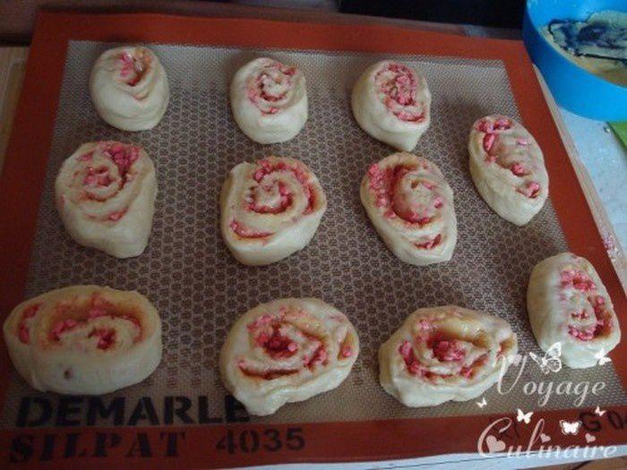Escargots briochés aux pralines roses