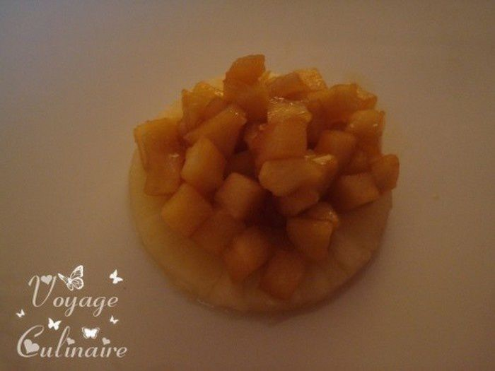 Brioche perdue aux pommes, ananas et chantilly vanillée