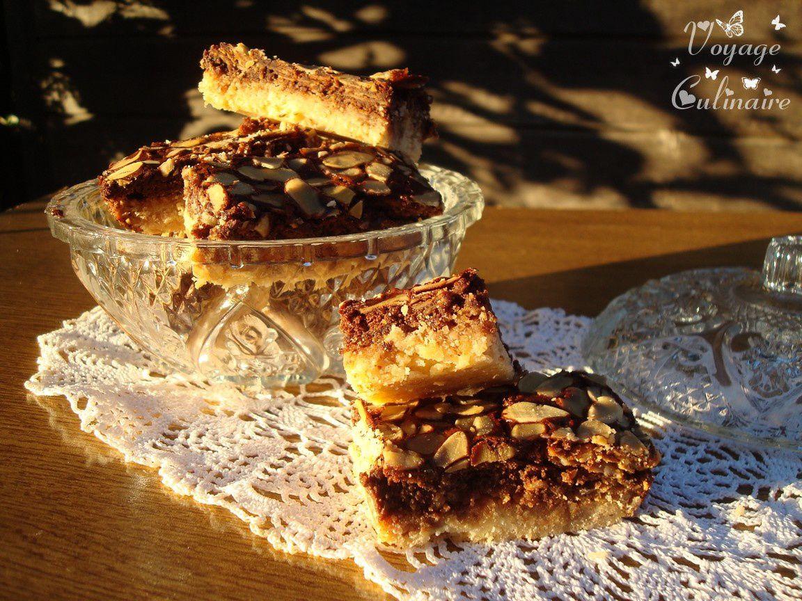 Carrés au sucre muscovado, miel et chocolat