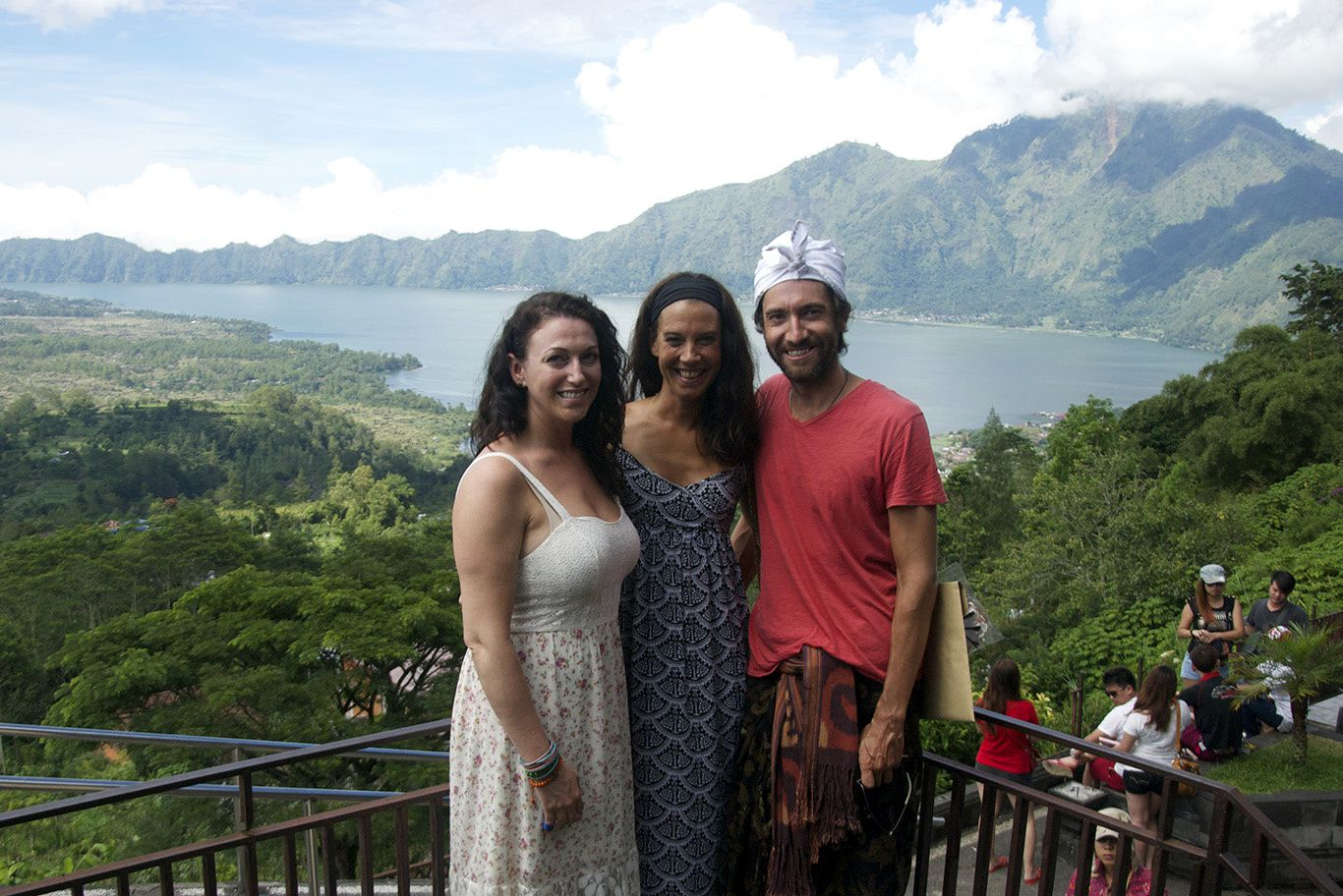 Rice paddies and the Batur volcano with its lake