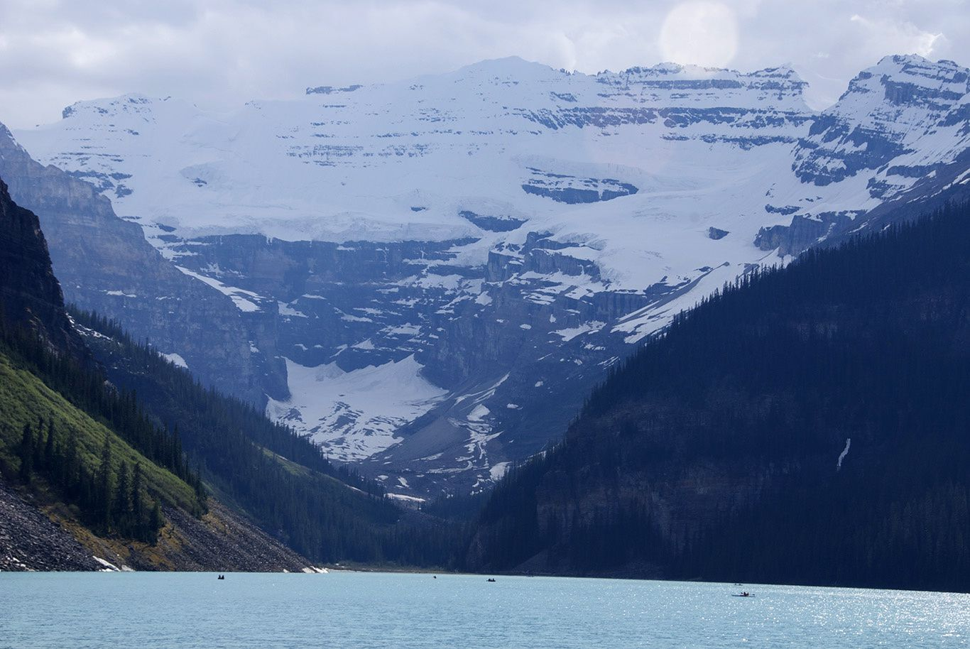 Lake Louise in Banff National Park: one of the most beautiful place in the Rockies with an impressive view on Victoria Glacier in the back