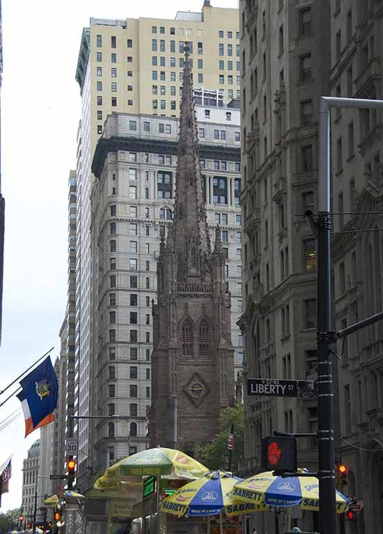 Downtown Manhattan, Wall Street and the Trinity church, Ground Zero and the New World Trade Center (1776 feet high in reference to the independence date)