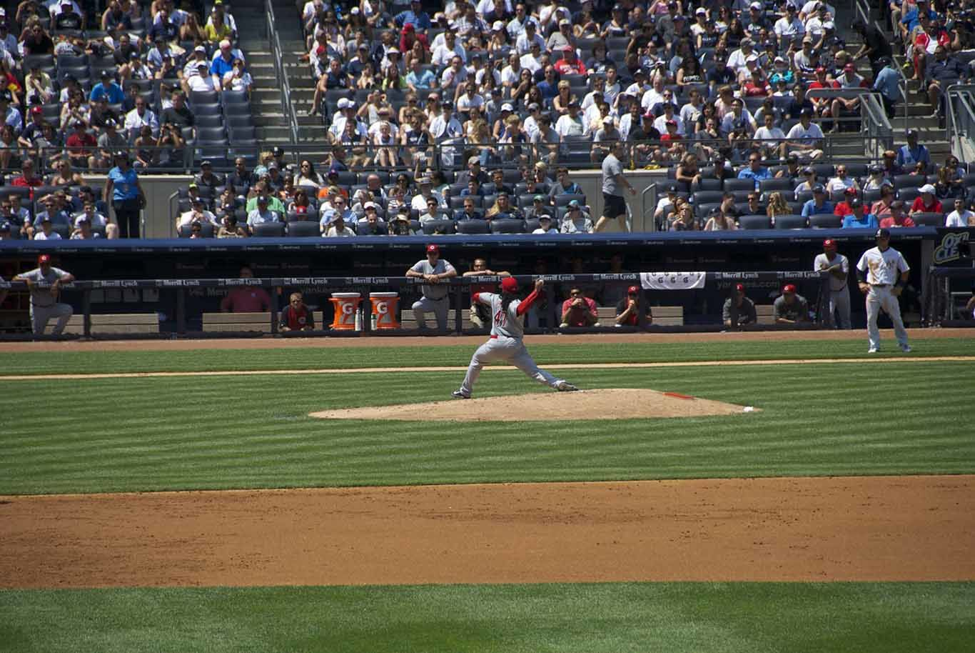 The ball game and the Yankee Stadium from the inside