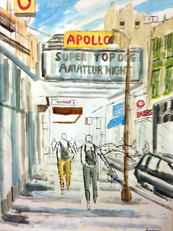 Harlem... my place for a month! The artist painting is Enrico Miguel Thomas and he does very well !!! http://enricomiguelthomas.net and Marcus Garvey Park which is more lively and a bit less well kept than Central Park...