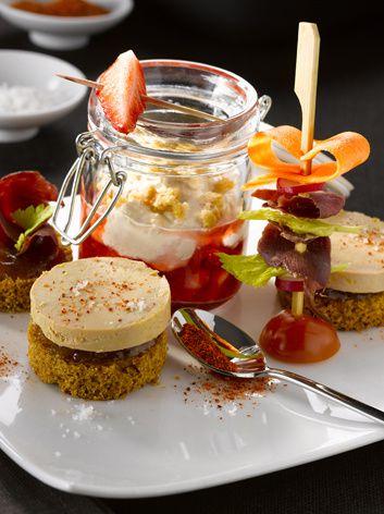 Verrines mulsion foie gras magret fraises tapas de foie gras tatins de foie gras aux fruits - Decoration foie gras assiette ...