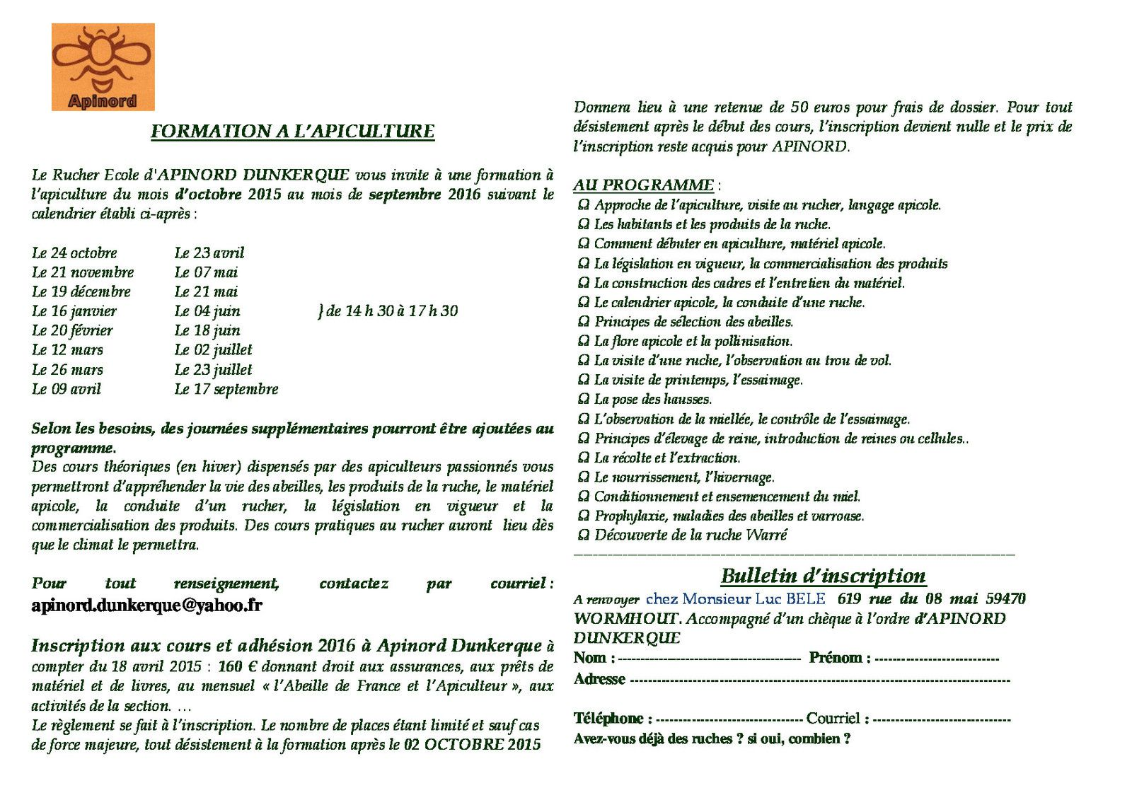 Apinord Dunkerque - Formation 2015-2016