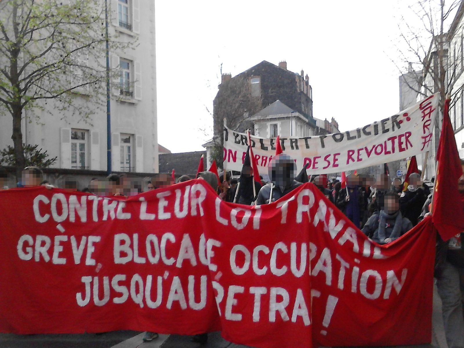 31  mars Clermont Ferrand : réussite du Cortège révolutionnaire