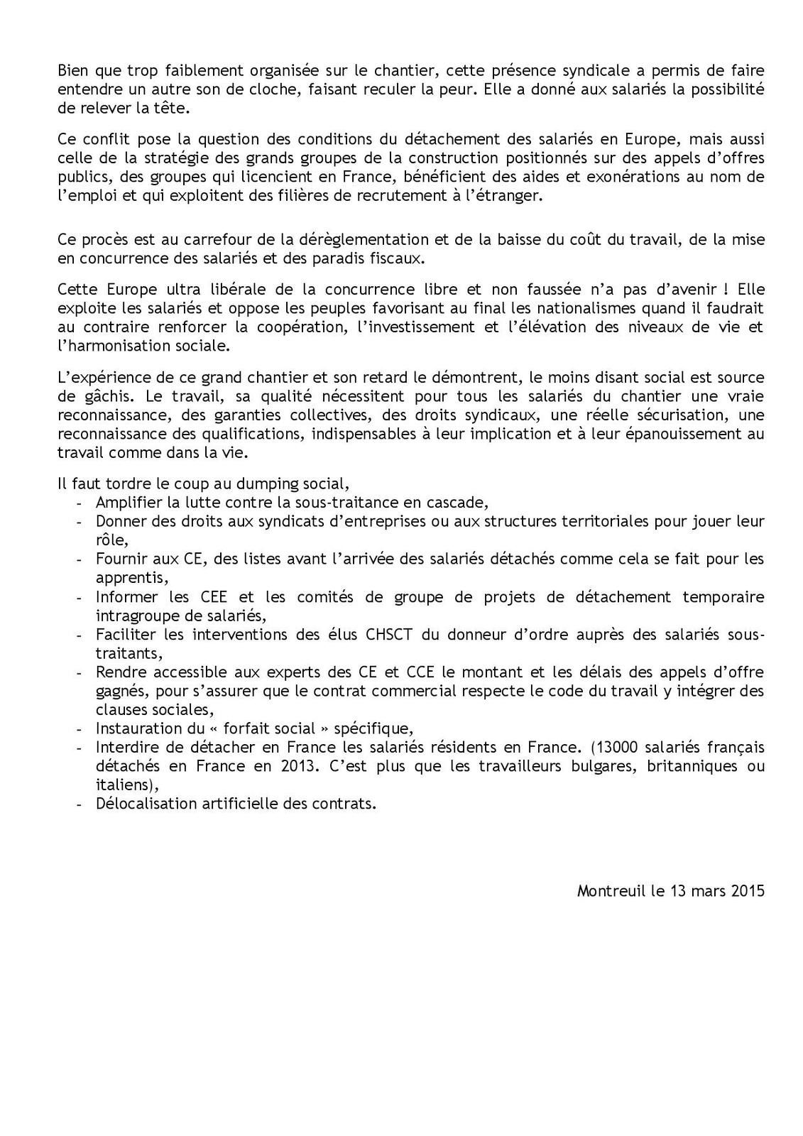 Déclaration confédérale CGT: procès EPR