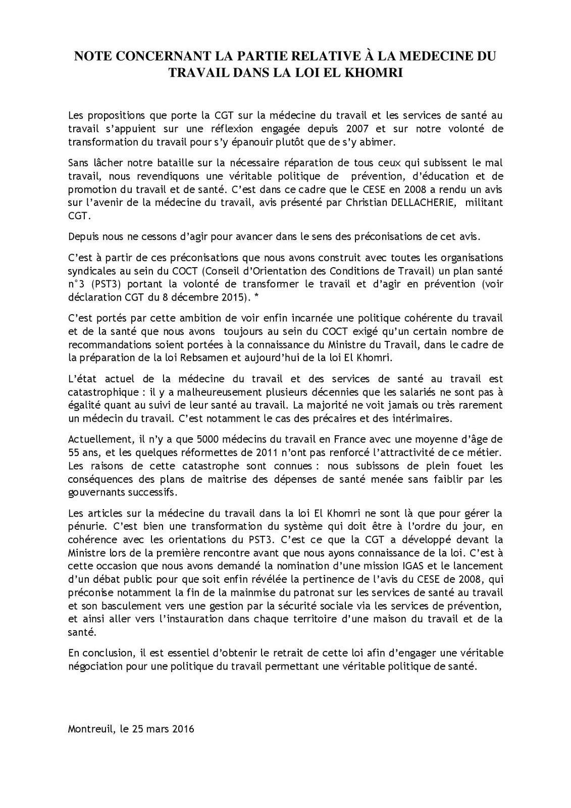 NOTE CONCERNANT LA PARTIE RELATIVE À LA MEDECINE DU TRAVAIL DANS LA LOI EL KHOMRI