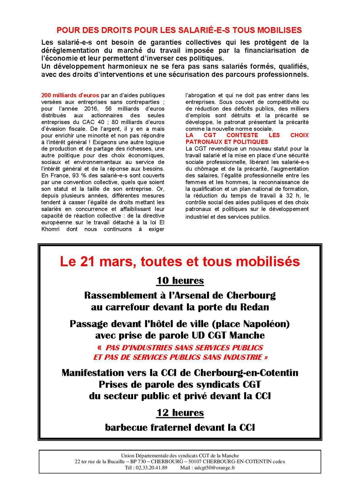 Journée interprofessionnelle de mobilisation départementale le 21mars pour la reconquête de l'industrie et les services publics