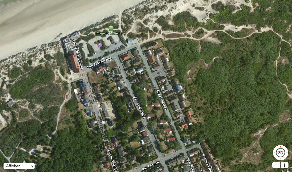 RdV Zuydcoote Dune Marchand parking juste après la rue de Wattrelos (point rose)