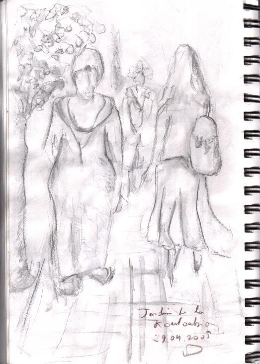Dans les jardins de la Koutoubia à la tombée du jour…