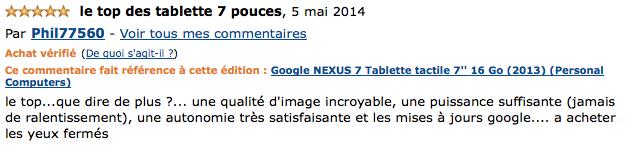 Avis et prix : Google NEXUS 7 Tablette tactile 7'' 32 Go