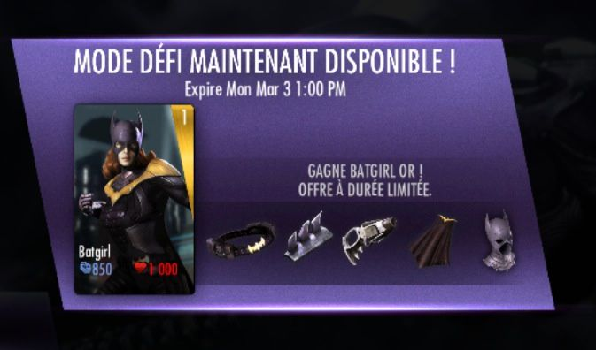 Injustice : Nouveau mode défi disponible avec Batgirl Gold!