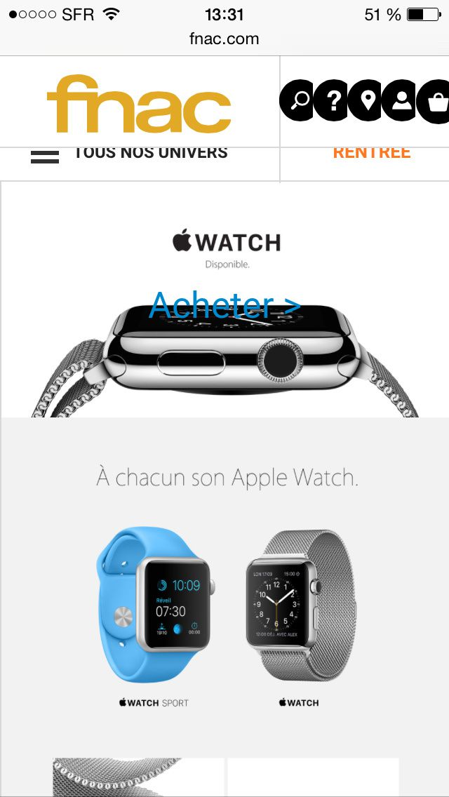 L'Apple Watch est disponible à la FNAC