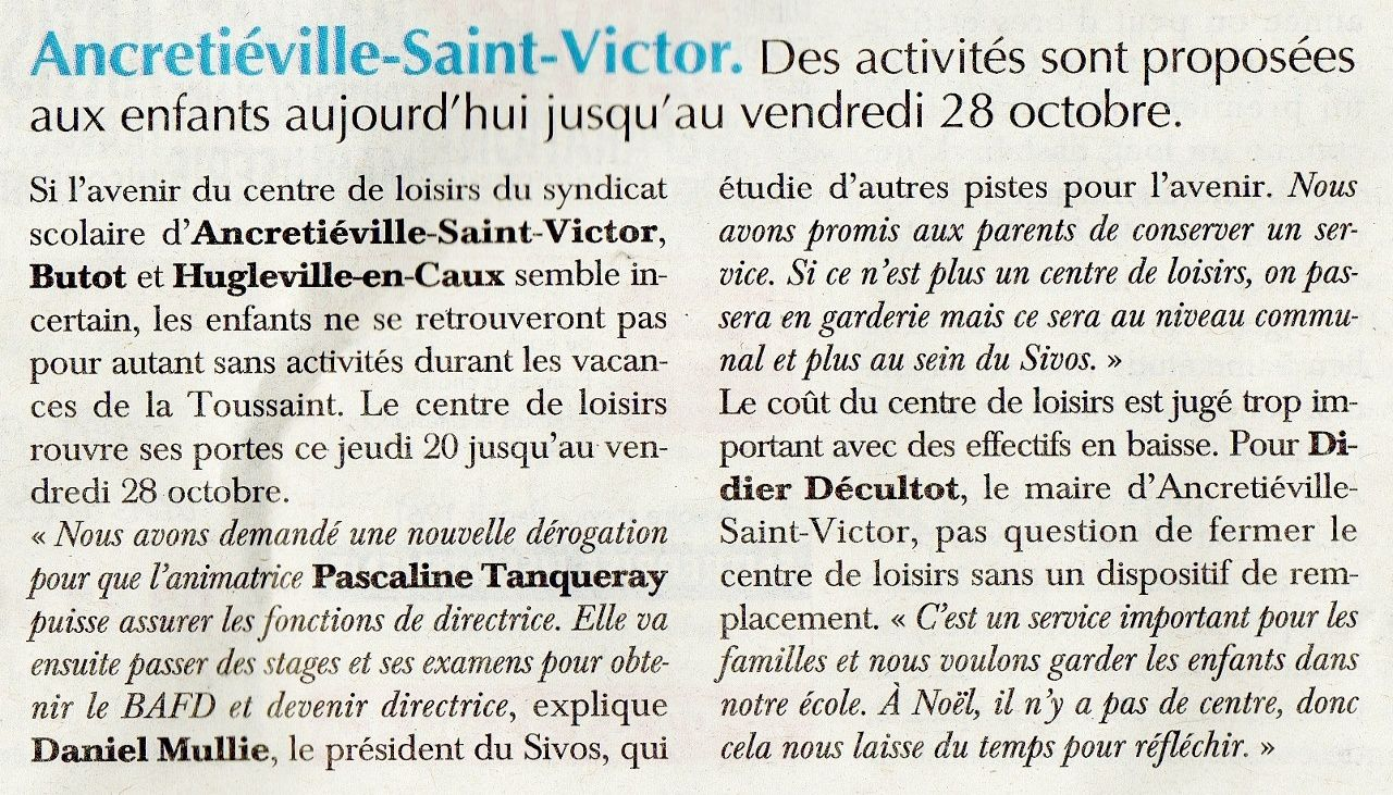 Article paru dans le Paris-Normandie du 20 octobre 2016, page 9