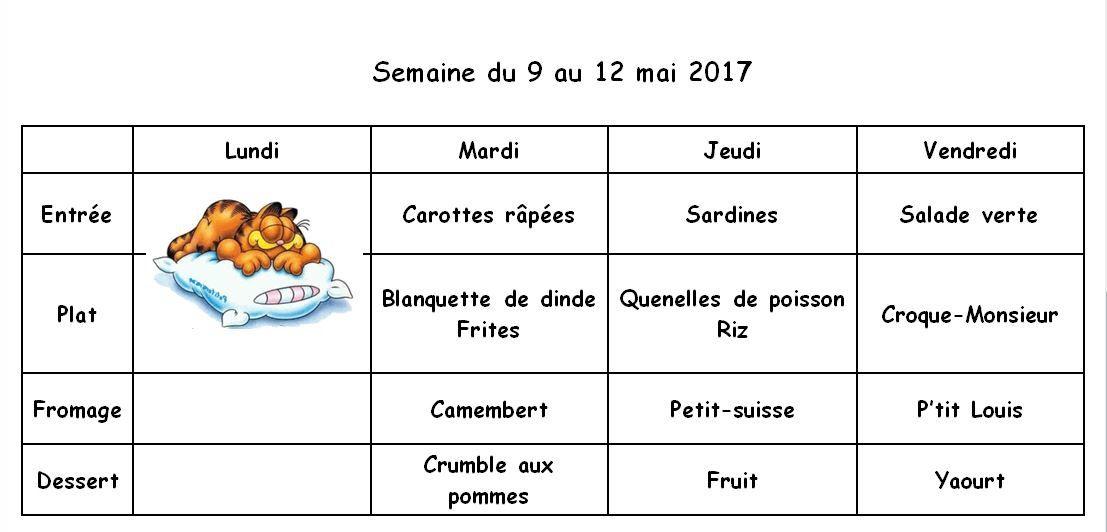 Ecole : menu du restaurant 2016-2017