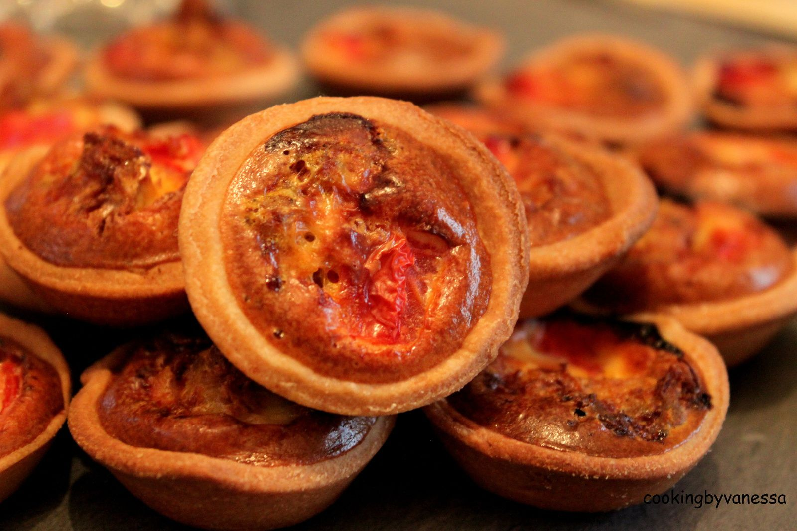 Mini quiche poulet curry et tomate