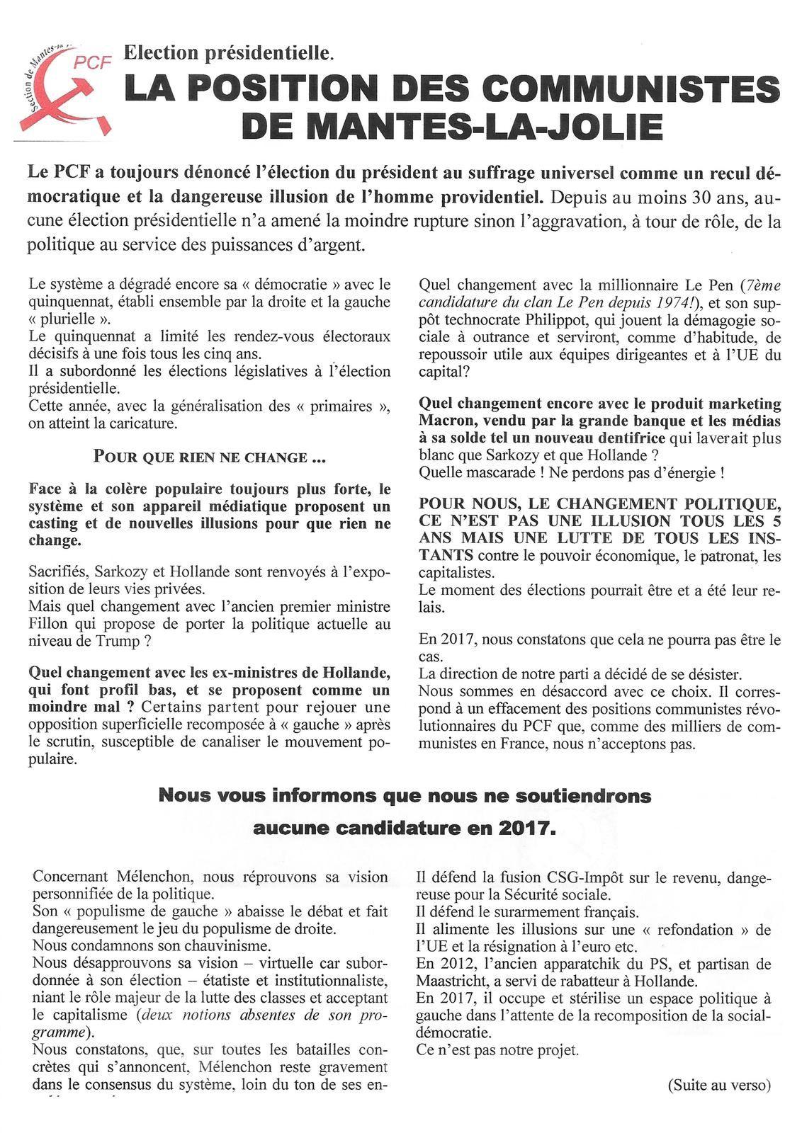 ELECTION PRESIDENTIELLE. La position des communistes de Mantes-la-Jolie