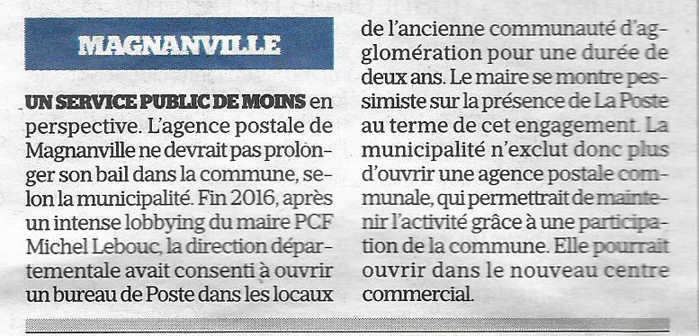 Le Parisien. Magnanville. Un service public de moins