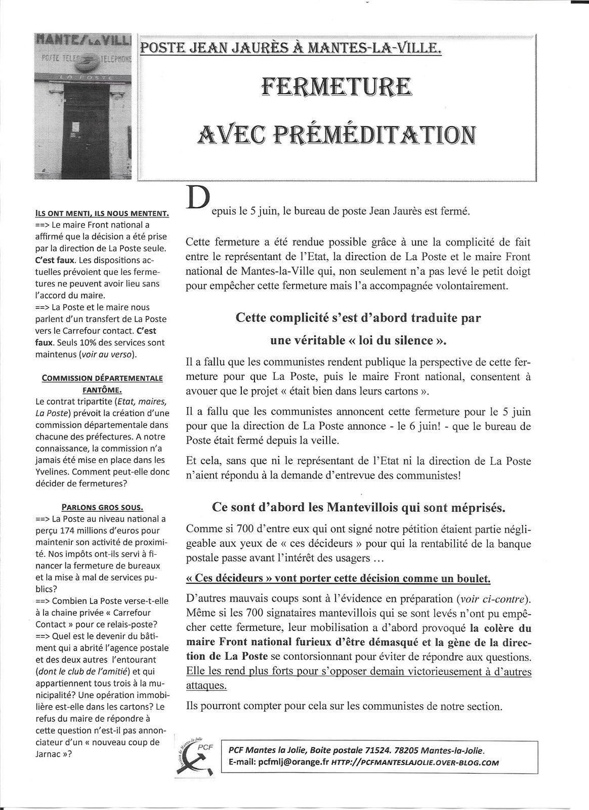 Poste Jean Jaurès à Mantes-la-Ville. Fermeture avec préméditation