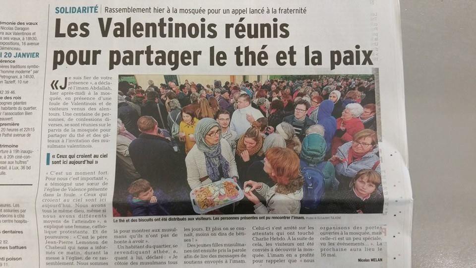 Partageons le thé et la paix à la mosquée de Valence