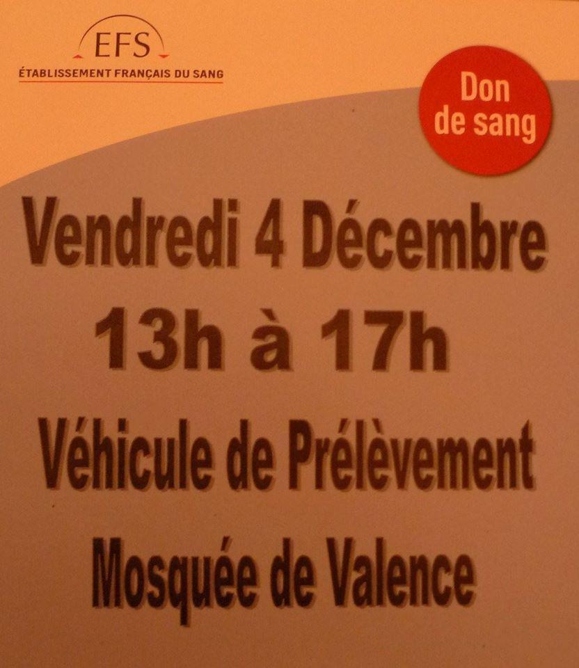 Don du sang à la mosquée de Valence vendredi 4/12/2015 de 13h00 à 17h00
