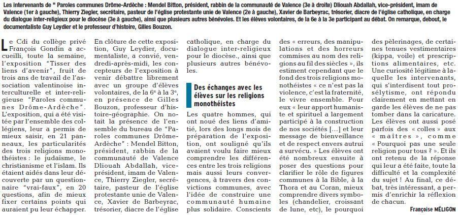 """L'association &quot&#x3B;Paroles communes Drôme-Ardèche"""" à la rencontre des élèves du collège Gondin à Chabeuil"""