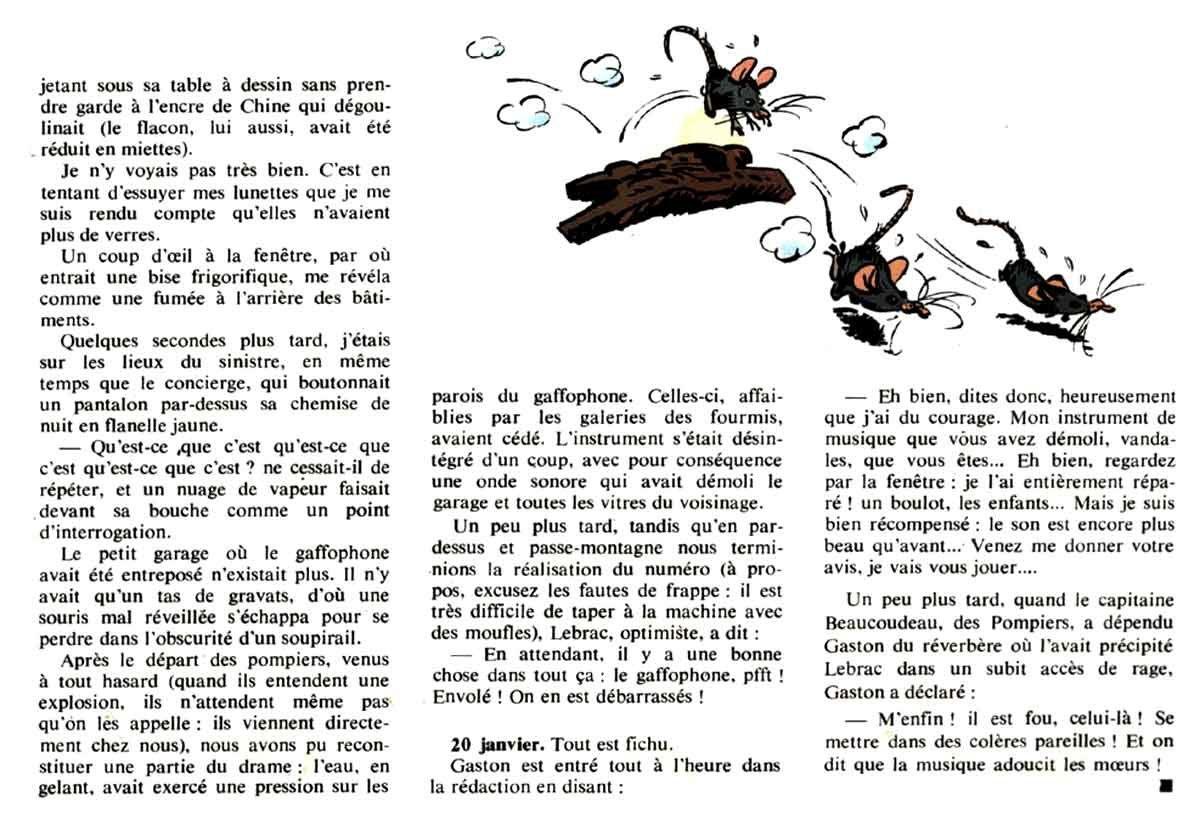 La destruction du Gaffophone par son retour à l'état de nature, texte et illustrations provenant du Gaston#4 par Franquin dont je salue les ayant-droit.