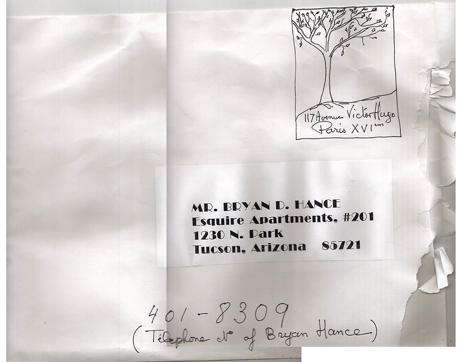 """""""117 ave. Victor Hugo"""", courrier reçu par B. Hance le 13 aoùt 2003 (http://www.maydaymystery.org/mayday/texts/delivery08132003.html)"""