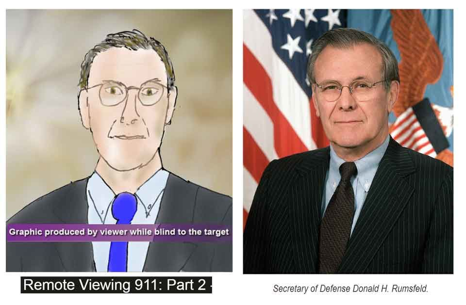 "L'un des instigateur dessiné par un voyant ""totally looks like"" Donald Rumsfeld."